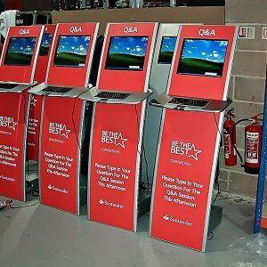santander Data Gathering Kiosk printed graphics Surrey