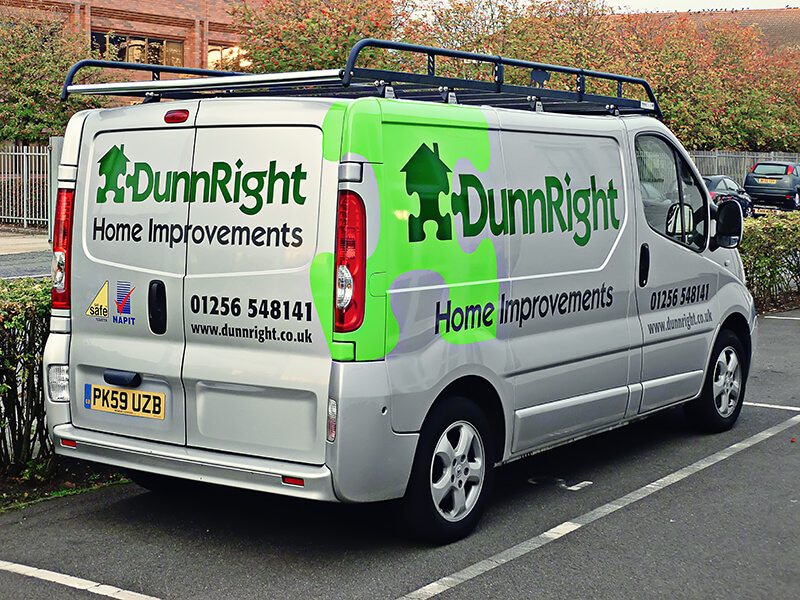c21fbaab9 Van Signwriting Surrey, Berkshire, Hampshire. Part of the Dunnright fleet,  the branding on this Vauxhall Vivaro was kept consistent with the brand ...