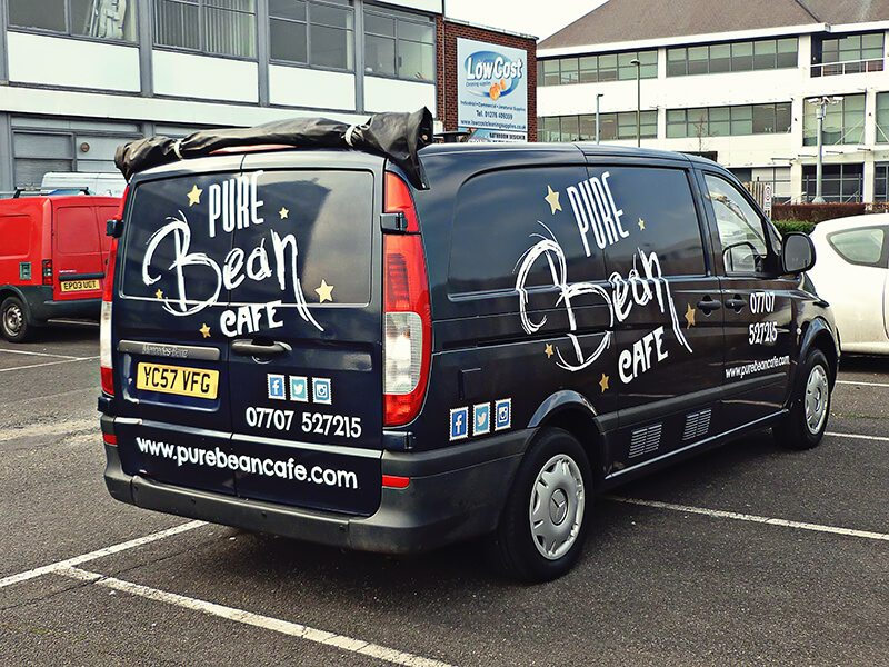 f10655fc3 Van Signwriting Camberley. Vinyl cut graphics. Oversized to make best use  of available space.